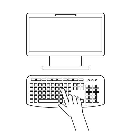 User with computer desktop vector illustration design.
