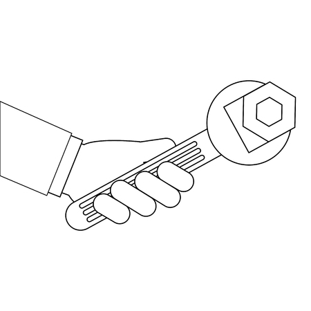 hand with wrench key and nut vector illustration design