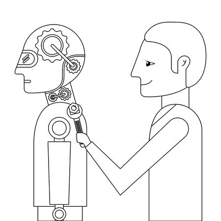 scientist repairing humanoid robot vector illustration design