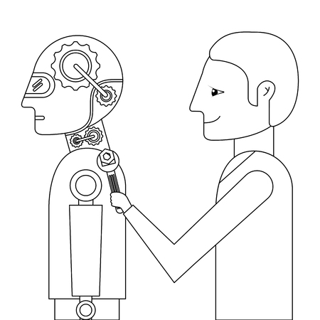 scientist repairing humanoid robot vector illustration design