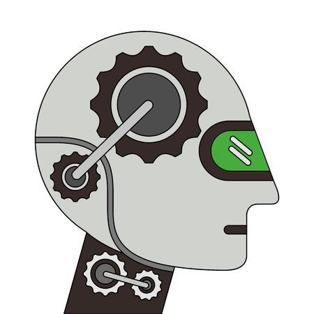 humanoid robot profile icon vector illustration design Illustration