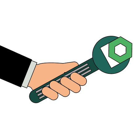 Hand with wrench key and nut vector illustration design.