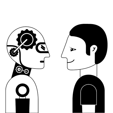 Humanoid robot and person profiles vector illustration design.