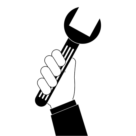 Hand with wrench key isolated icon vector illustration design. 向量圖像