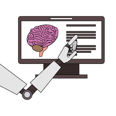 A monitor computer with brain and robot hand vector illustration design Vettoriali
