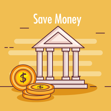 Bank building with money vector illustration design.