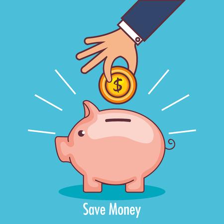 Progettazione dell'illustrazione di vettore dell'icona dei soldi di risparmio di porcellino.