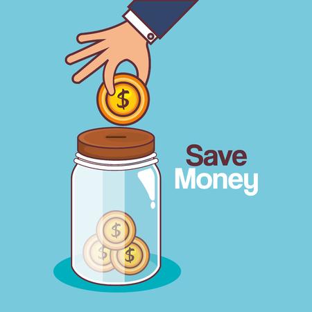 Zapisz projekt ilustracji wektorowych ikona słoik pieniędzy. Ilustracje wektorowe