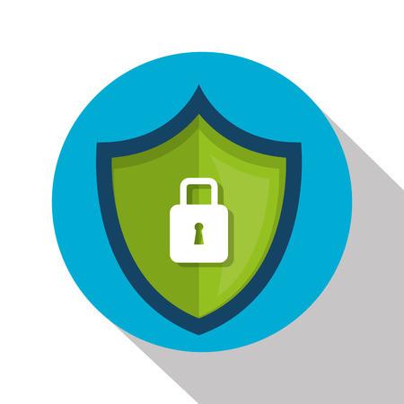 Shield with safe secure padlock vector illustration design.