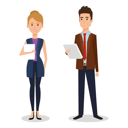 Business people couple avatars characters vector illustration design. Ilustrace