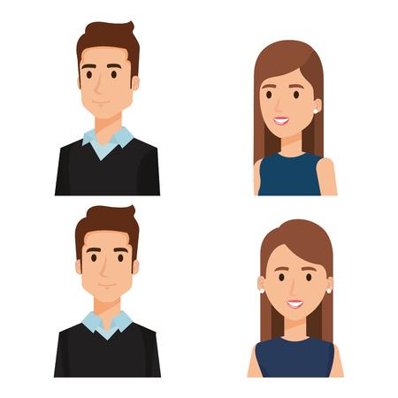 ビジネスマングループアバターキャラクターベクトルイラストデザイン。  イラスト・ベクター素材