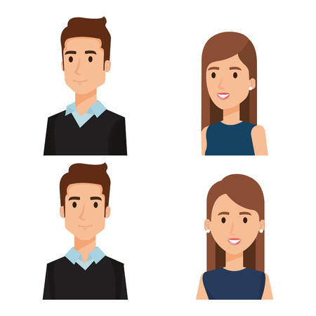 Business people group avatars characters vector illustration design. Vettoriali