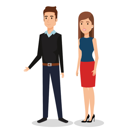 Business people couple avatars characters vector illustration design. Illustration
