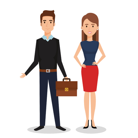 Business people couple avatars characters vector illustration design. 向量圖像