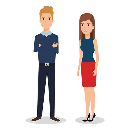 Business people couple avatars characters vector illustration design. Illustration