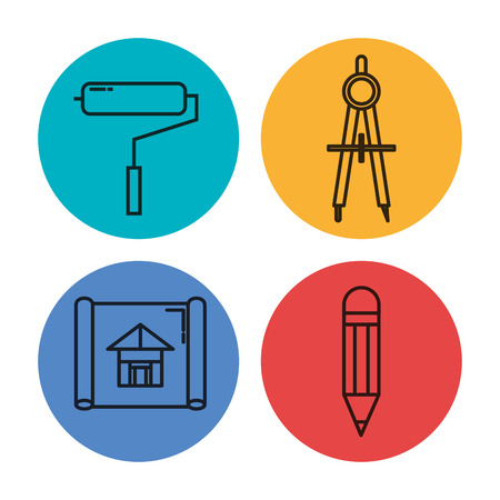 Architektonische Design-Set Icons Vektor-Illustration Design Standard-Bild - 92539910