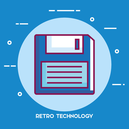 Floppy disk retro technology icon vector illustration design.