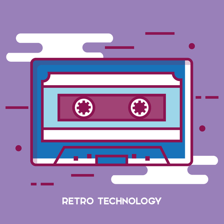 Cassette retro technology icon vector illustration design.