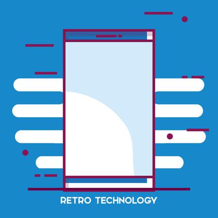 スマートフォンレトロな技術アイコンベクトルイラストデザイン。