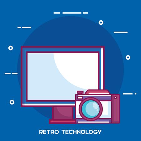 レトロな技術セットガジェットベクトルイラストデザイン。