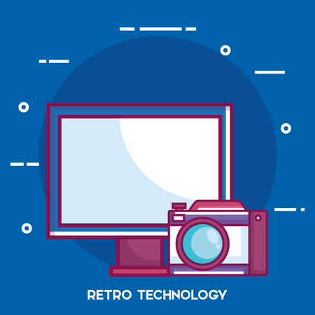 Retro technology set gadgets vector illustration design.