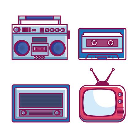 Retro vector de illustratieontwerp van technologie vastgesteld gadgets.