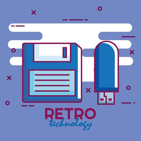 Retro technology set gadgets vector illustration design.