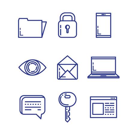 Set of security system technology icons illustration design Imagens - 92540913
