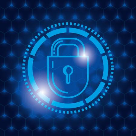 Padlock secure technology icon illustration design