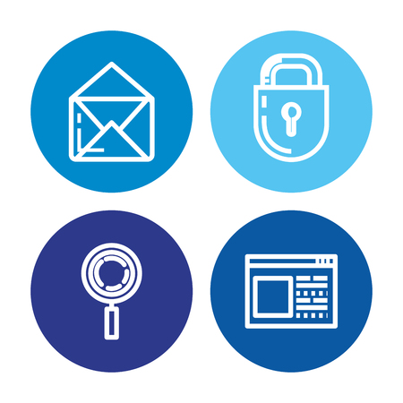 Security system technology icons illustration design