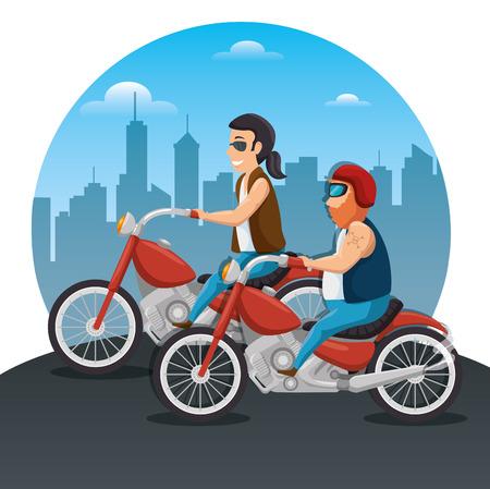 Biker culture bikers riding motorbikes vector illustration graphic design Stock Illustratie