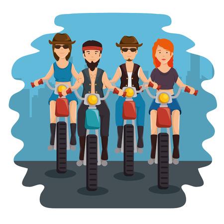 Biker culture bikers riding motorbikes vector illustration graphic design Illustration
