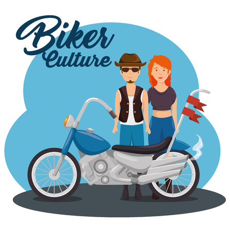 Biker culture background bikers riding motorbikes vector illustration graphic design