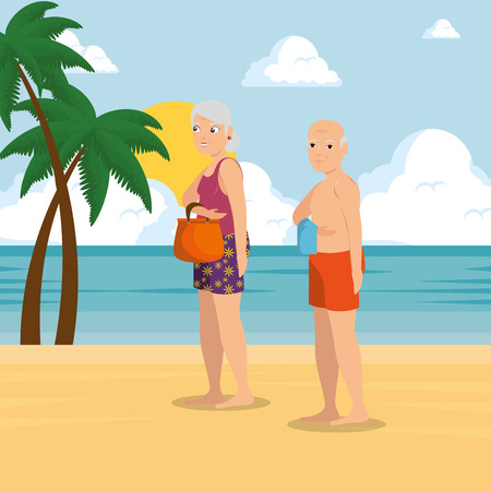 old happy couple of lovers on the beach vacation vector illustration graphic design Illustration