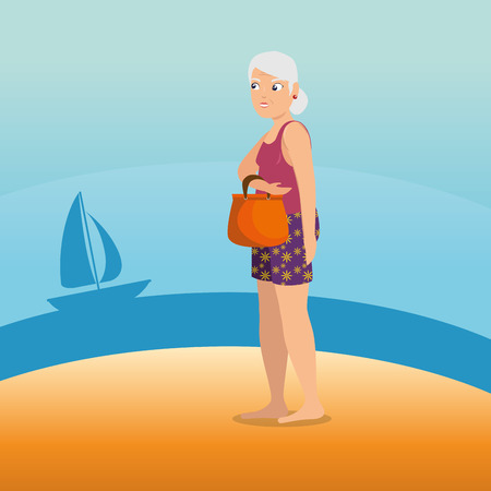 old woman walking along the beach summer vacation vector illustration graphic design