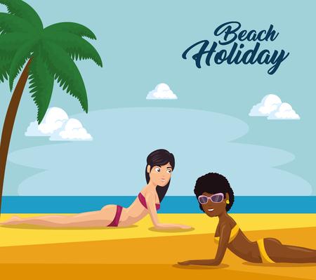 Beautiful women sunbathing on the beach in summer vacation vector illustration graphic design