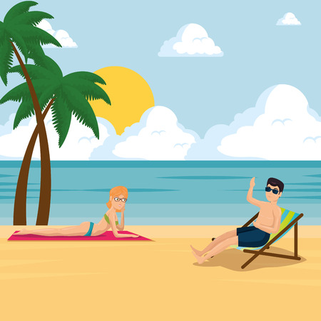 happy couple of lovers sunbathe on the beach summer vacation vector illustration graphic design Ilustração