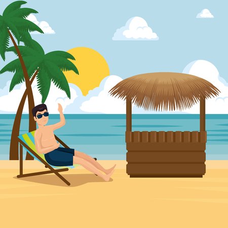 man relaxing on the beach sitting in a chaise longue summer vacation