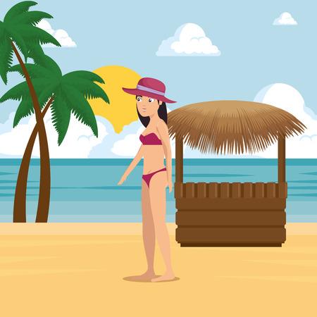 ビーチ夏休みベクトルイラストグラフィックデザインに沿って歩く女性