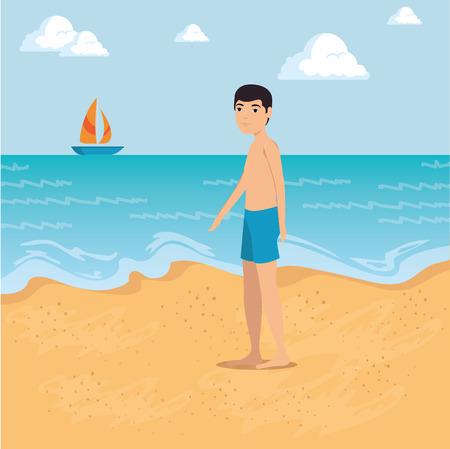 ビーチ夏休みベクトルイラストグラフィックデザインに沿って歩く男  イラスト・ベクター素材