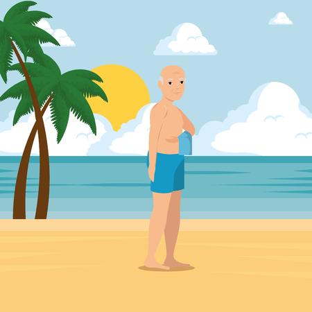 ビーチ夏休みベクトルイラストグラフィックデザインのビーチを歩く老人