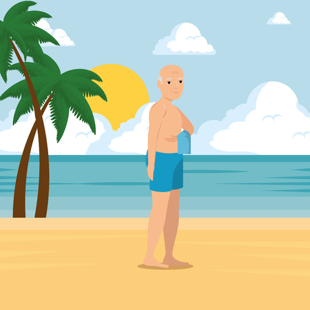 Old man walking along the beach summer vacation vector illustration graphic design