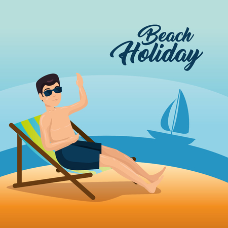 Man relaxing on the beach sitting in a chaise longue. Summer vacation illustration.