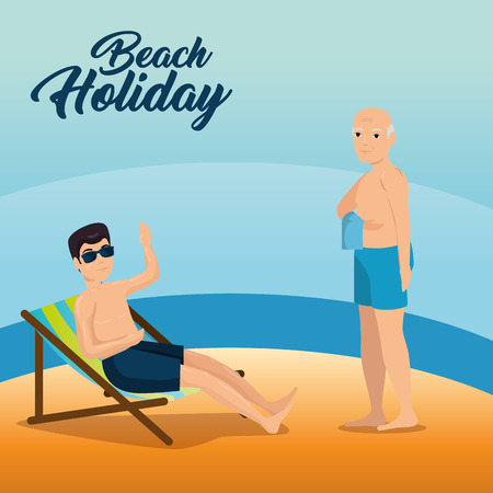 man sitting in a chaise longue and old man walking along the beach summer vacation vector illustration graphic design