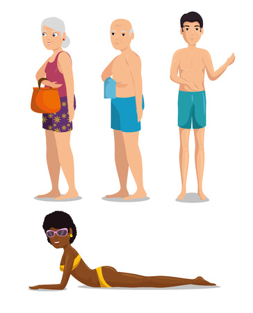 set of people on beach vacation vector illustration graphic design