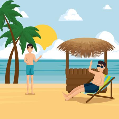 Menschen am Strand Sommerferien . Vektor-Illustration Grafik-Design Standard-Bild - 92995218