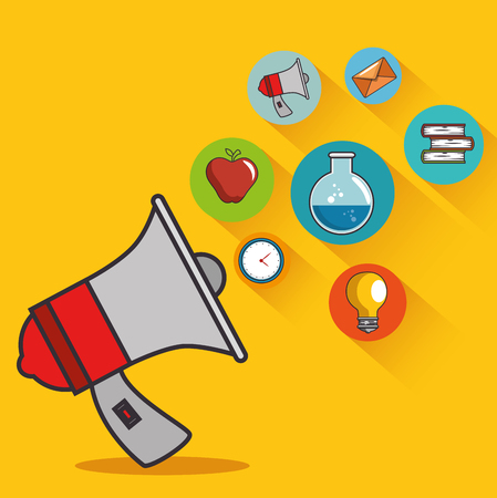 education icon coming out of megaphone vector illustration graphic design