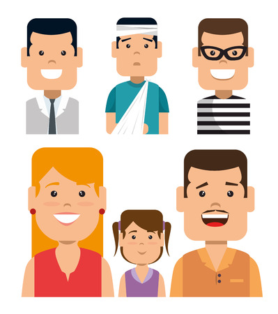 set of people involve insurance services vector illustration graphic design