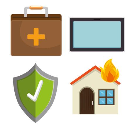 집 보험 서비스 요소 벡터 일러스트 그래픽 디자인