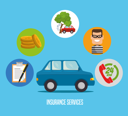 car insurance service concept vector illustration graphic design Illustration